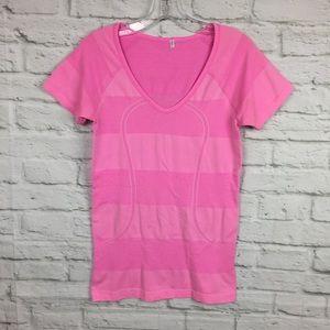 Lululemon Swiftly Tech V Neck Pink Stripe Size 8